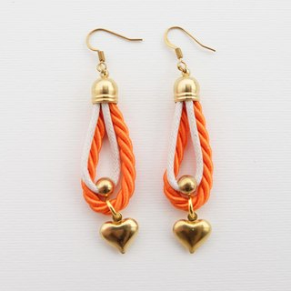 Orange and white rope earrings with heart