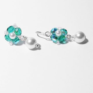 Beaded Series | Blue Flower 925 Silver Earrings