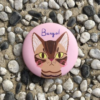 Big Head Cat badge - Bengal leopard cat Bengal