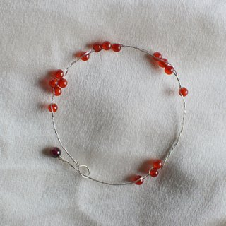 Brew Rouge - Red Horse Brain Garnet S999 Sterling Silver Pure Silver Bead Bracelet Original Design Natural Stone Valentine's Day Gift