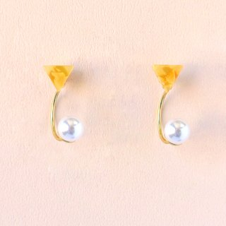 Set of Maru Labs Impressionist Triangle Sunset Pearl / Mosaic Front and Back Two Wear 2 way Earrings / Ear Clip (EP005)