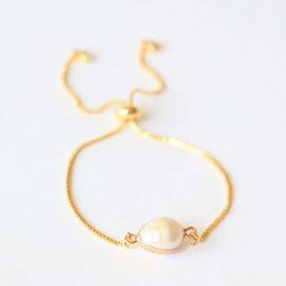 Natural pearl sliding bracelet - pearl gold plated bracelet