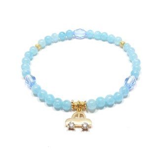 Aquamarine SWAROVSKI light blue crystal copper bronze zircon bracelet lucky stone