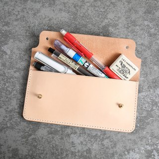 Pencil case/pencil box Italy imported vegetable tanned leather primary color handmade - GPC01