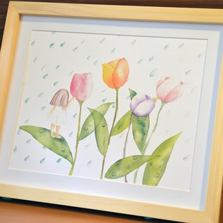 Hand-painted watercolor - Flower Faerie rain