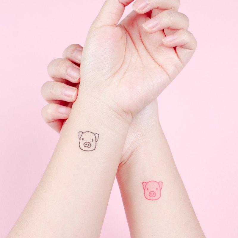 刺青紋身貼紙 - 可愛 小豬 Surprise Tattoos