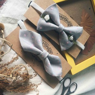 Marriage Graduation Gift - Antique Cloth Tie Tie Handmade Bow Tie - Pink Warm Gray - Wide Edition