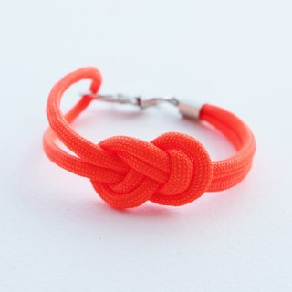 Paracord infinity-knot with metal clip bracelet in NEON ORANGE