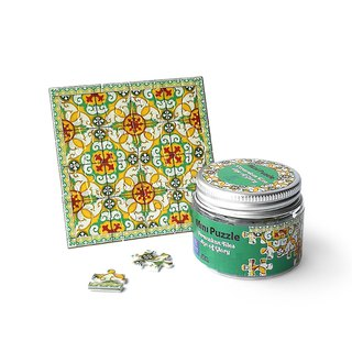 Mini Puzzle Coaster: Peranakan Tiles Golden Floral