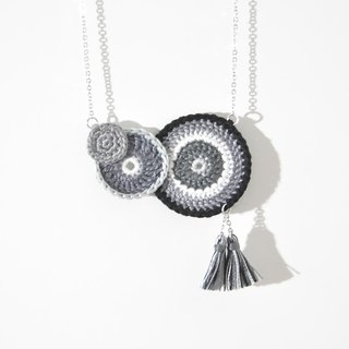 armei《MakeToOrder》『Blessed A.Ring』Unique Style Black White Grey Necklace - Lace Crochet & Tassel