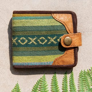 Hand-knitted stitching leather short clip short wallet purse woven short clip - ethnic style Moroccan oasis