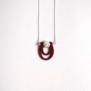 """KeepitPetite"" temperament design, white turquoise leather cord crimson · · · Double Silver Necklace (40cm / 16 inches)"