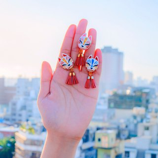 Japanese Shrine Wind Earrings--Fox の Secret Fox Mask - Mini