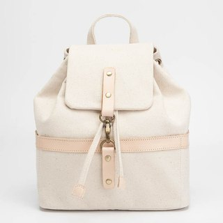 Bucket backpack with drawstring top in water resistant canvas and leather White