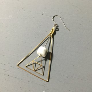 Marble Concrete x Brass x Sterling silver : Dangle and Drop Earring (ONE UNIT )