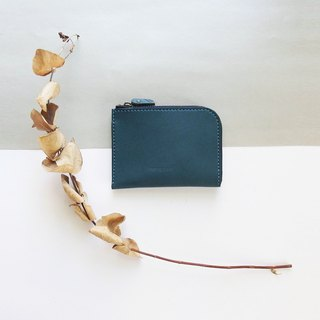 Classic L zipper accompanying clip - Rattan Blue - Leather / Wallet / Fashion / Handmade / Practical / Color