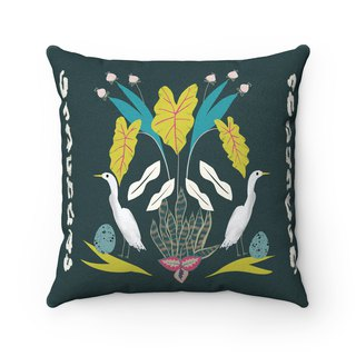 Egret ostrich and plant pillow dark green fluffy pillow - with pillow