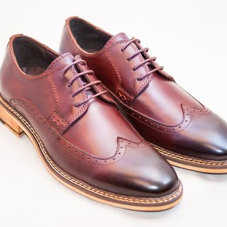 Hand-Made Calfskin Wood Wing Pattern Carved Derby Shoes - Wine Red - Free Shipping - B1A16-79