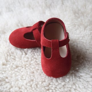 Red Suede Baby Mary Jane, T-Strap Leather Mary Jane, Baby Girl Shoes