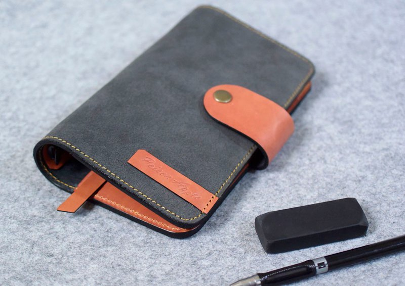 YOURS leather loose-leaf notebook A6-Size fillet buckle 4 card + L clip gray suede + bright orange