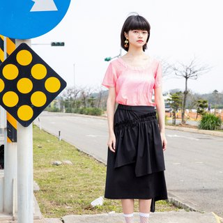 Moi non plus black cotton asymmetric skirt