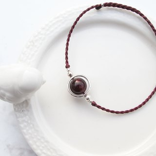 Big staff Taipa [handmade silver] red garnet × globe Brazilian wax rope bracelet wine red