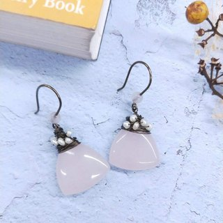 earring. Water Drop Powder * Pearl Ear Hook Earrings