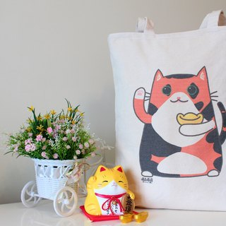 "Can be a large capacity thick canvas bag ""Lucky A meow"""