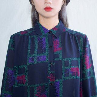 Dark blue romantic window outside bougainvillea vintage long-sleeved shirt