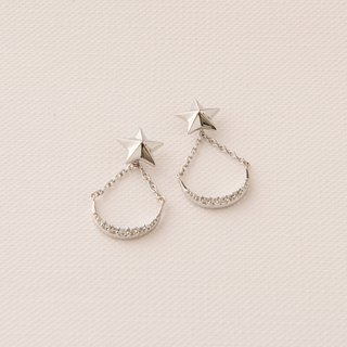 Star moon silver earrings