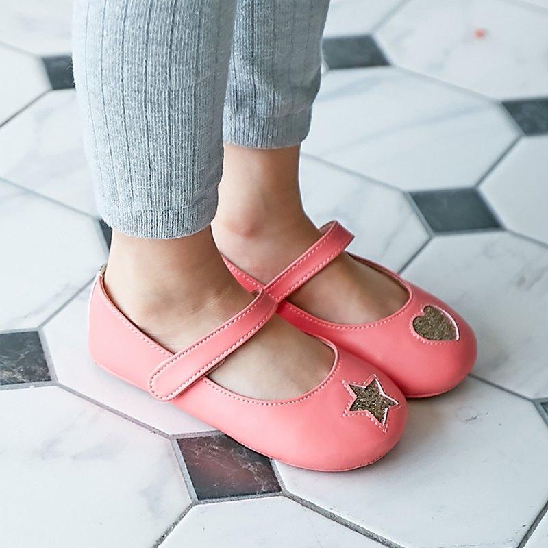 不對稱金蔥星心寳寳娃娃鞋-甜桃粉