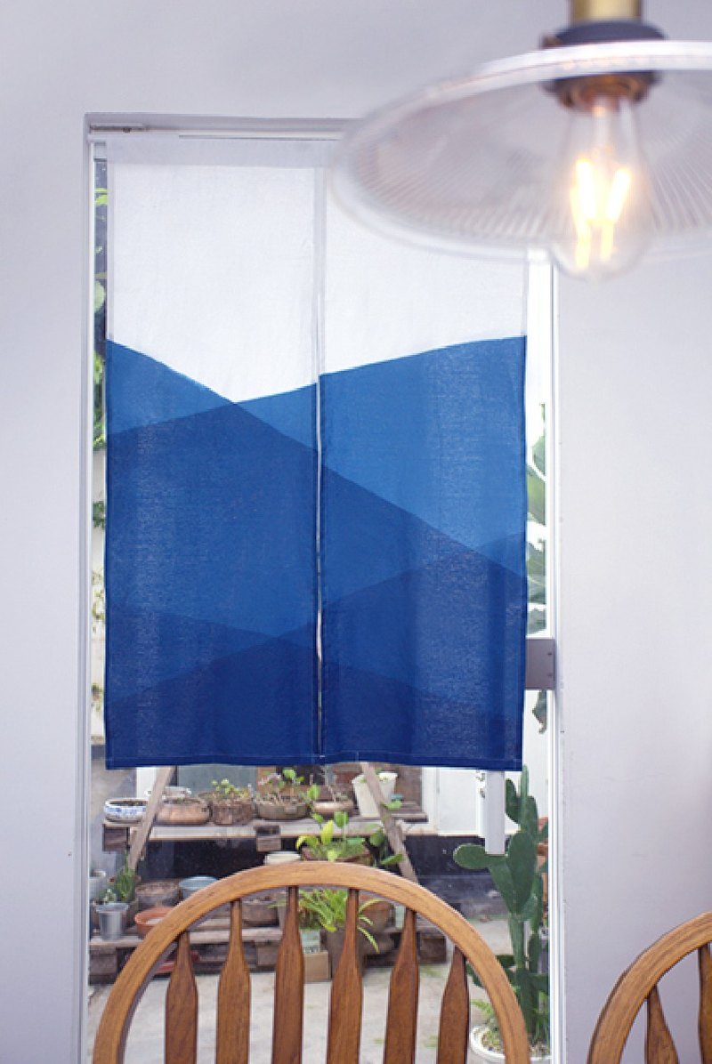 Qingshan door curtain curtain handmade grass dyed blue dyed indigo original design linen Chinese Japanese partition curtain