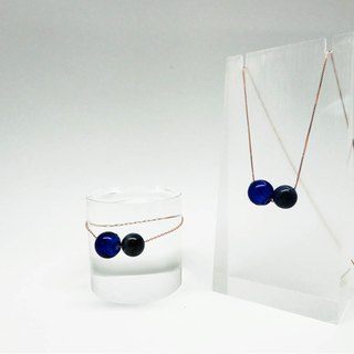 Sodalite March Rose Gold S925 Diffuser Necklace Bracelet Combo