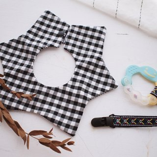 Hairmo. black plaid personality handmade baby bib / saliva towel - star version