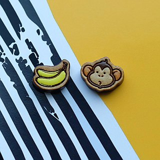 Painted wood earrings-Monkey&banana