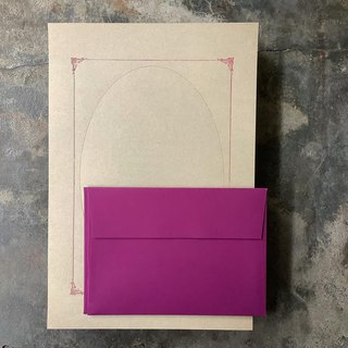 Typographic printing frame letterhead envelope group / khaki paper printing wine red