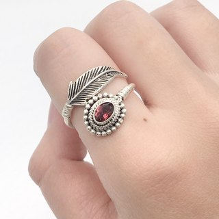 Pink Tourmaline 925 Sterling Silver Feather Design Ring Nepal Handmade Silverware