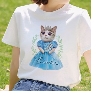 Cat Princess Caterella Short Sleeve Cotton T-Shirt - White