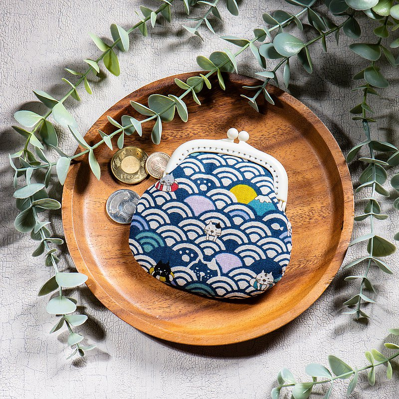 【海波浪搞笑小貓咪-深藍】零錢包#小口金包#可愛#搞怪#交換禮物
