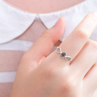 Geometric minimalist natural stone ring - hair crystal 925 sterling silver