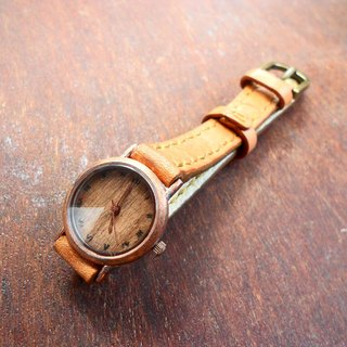 Retro gold ring Prism simple wooden surface hand handmade leather strap surface (SOLD SOLD OUT)