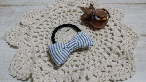 Light blue striped bow hair ring