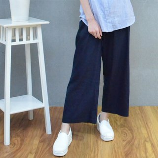 Cotton and linen wide version of nine pants (a total of three colors)