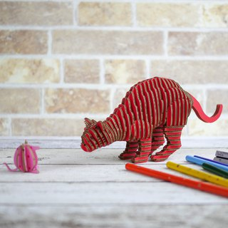 THANK CAT/3D Craft Gift/DIY/Red