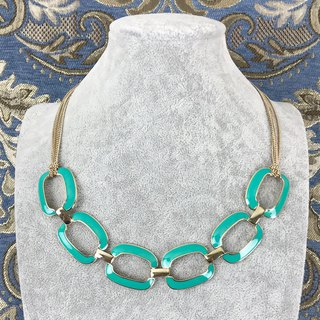 Temperament retro lake green metal antique necklace BKA112