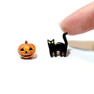 Halloween Pumpkin & Black Cat Earrings, Cat Stud Earrings