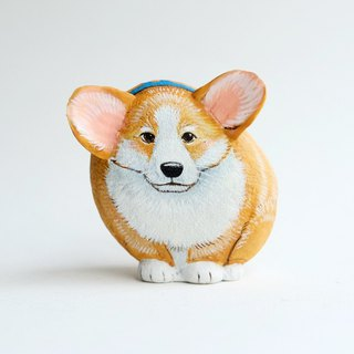 Corgi dog doll stone painting, handmade unique gifts.