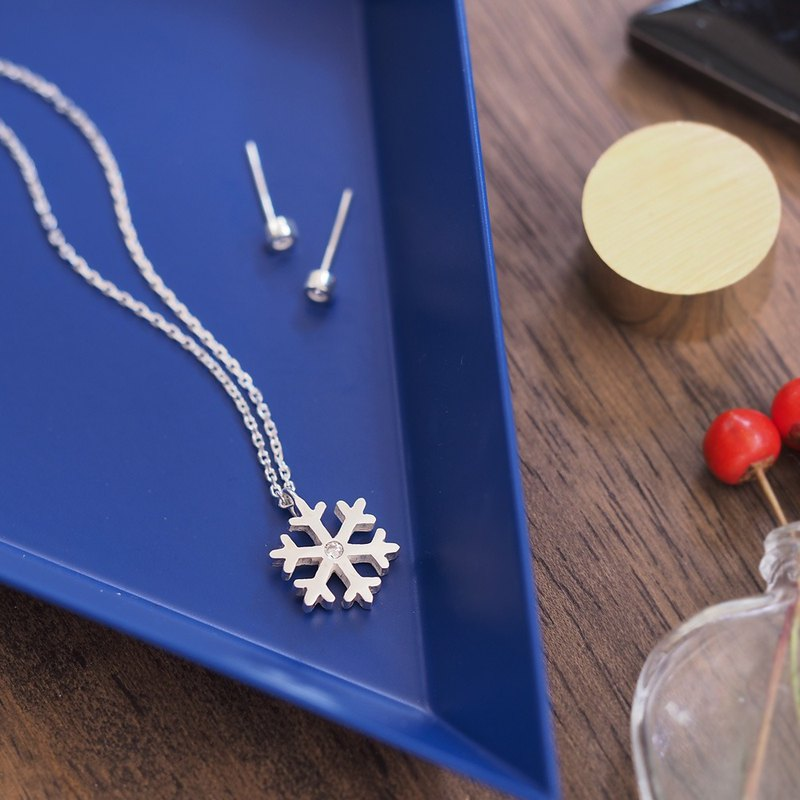 2 points set) Snow Crystal Necklace & Silver Earring Set 925 Silver