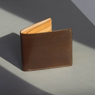 ALEX-HIGH QUALITY COW LEATHER FROM FRANCE SHORT WALLET-DARK BROWN