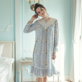 Home service European style lace princess dress - blue print